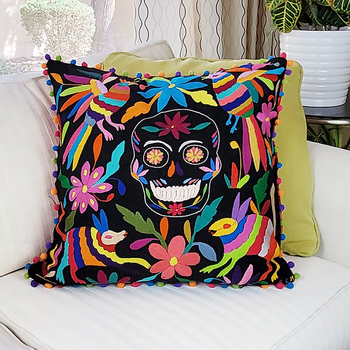 """Otomi square Pillow cover 20""""x20"""" skull multicolor hand embroidered on black fab"""