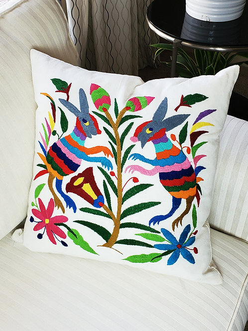 "Otomi  Square Pillow Cover 18""×18""multicolor embroidered on manta f"