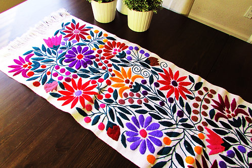 colorful flowers, mexican tapestry, mexican hand made, table runner white, woven, tapestry, mexican textile, maya,  mexican f
