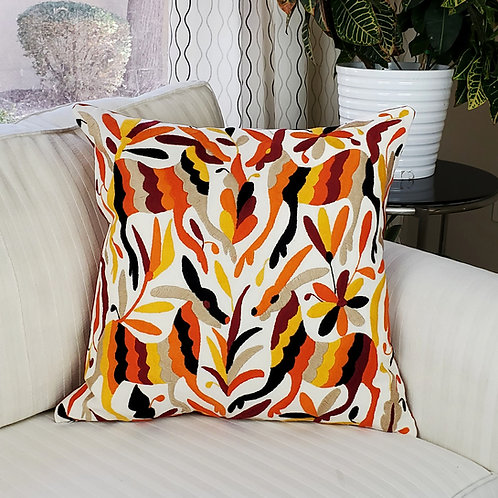 """Otomi square Pillow cover 20""""x20"""" multicolor hand embroidered on natura"""