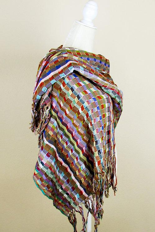 mexican rebozo, stiped shawl, multicolor, mexican apparael, mexican textile, shawl multicolor, mexican fabric, hand woven sha