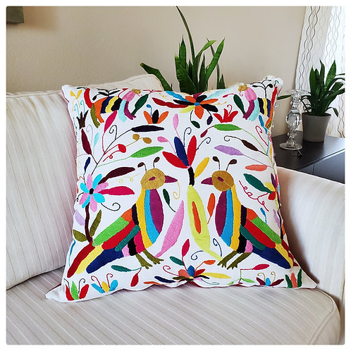 "Otomi square Pillow cover 22""x22"" multicolor hand embroidered on natural"