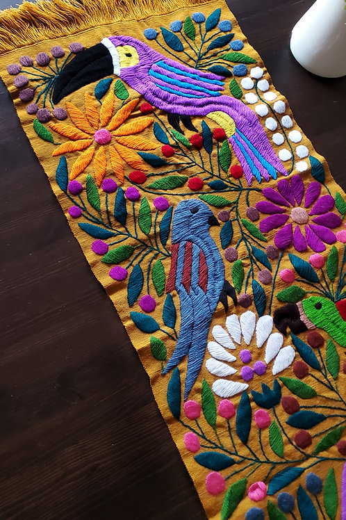 Mexican textile, mexican embroidered, mexican toucan tapestry, maya textile, maya embroidered, mexican linen, mexican decor,