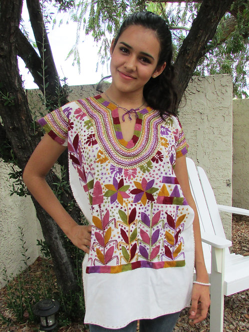Huipil or Blouse hand embroidered on rustic cotton