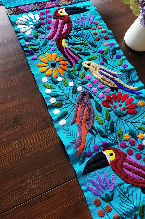 Table runner blue turqoise, toucan tapestry, mexican embroidered, maya textile, maya embroidered mexican linen, mexican decor