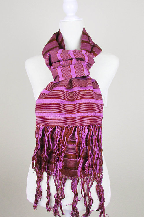 hand woven, scarf purple and red wine, mexican embroidery, chiapas, mexican fabric.