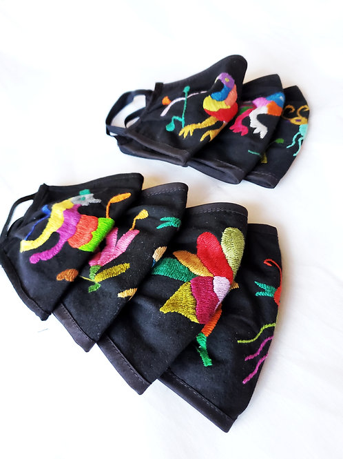 Otomi facamasks, hand embroidered facemasks, mexican embroidered, mexican facemascks