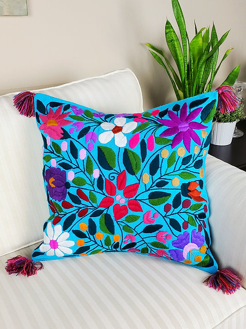 blue,birds, flowers, pillows cover, pillow case, hand made, hand woven, chiapas, mexico textile,textil, embroidery