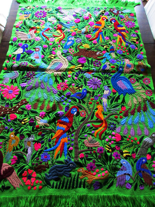 Green Tapestry, Chiapas' jungle animals, hand-made embroidered