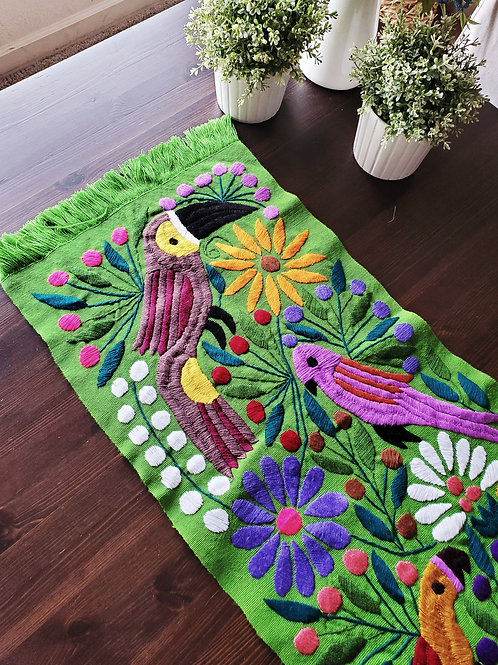 Table runner hand embroidered Tucans, birds, flowers, made in back strap loom.