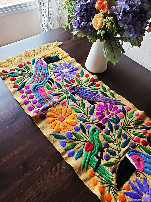mexican tapestry, mexican textile, mexican embroidery, mexican fabric, honey, table runner honey, toucans and flowers