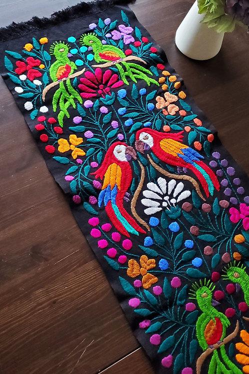 Mexican maya decor, mexican textile, mexican linen, mexican tapestry, mexican bird pattern, mexican home decor, table runner