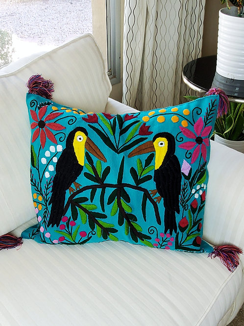 Chiapas Pillow Cover Aqua green fabric with colorful Toucan, animals and flowers