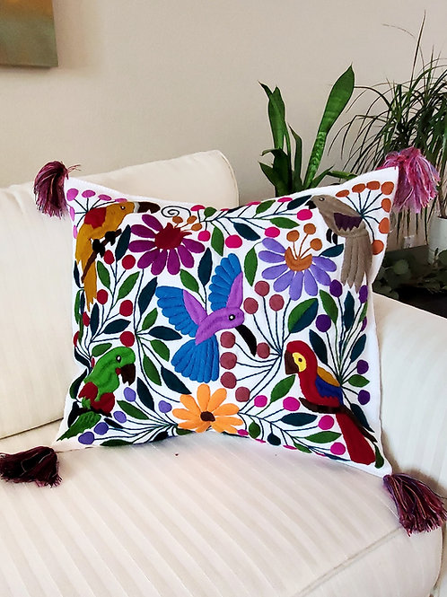 Chiapas Pillow Cover, White tone fabric with birds and flowers hand emb