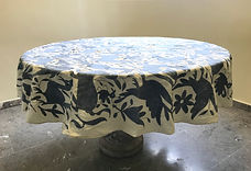 Otomi RoundTablecloth Bluegray hand embroidered- Tablecloth - Arte de M Tierra