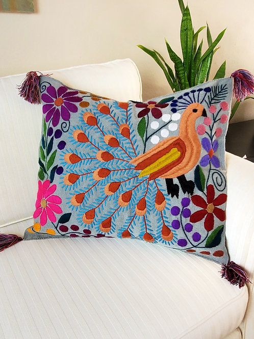 """Pillow cover 20""""x20"""" Grey color and multicolor Peacock  hand embroided"""