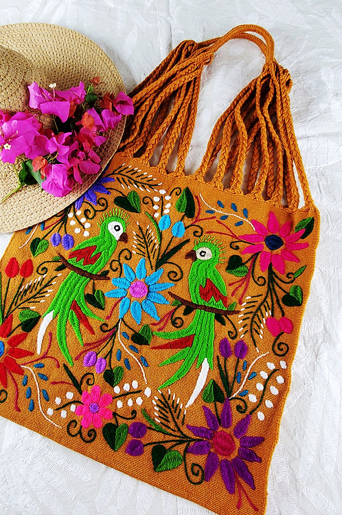 Chiapas tote color ocher handmade woven in backstrap loom bag hand embroidery, mexican, mexican textile, mexican woven, birds