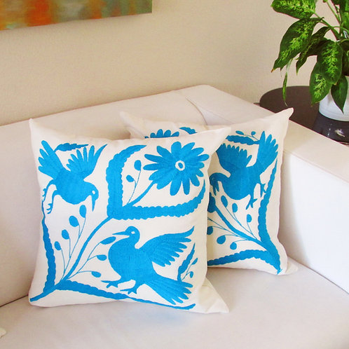 """Pillow Cover 20""""x20"""" Tourqoise, on muslin fabric."""