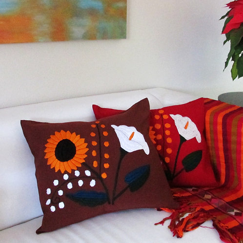 pillow cover brown, sunflower, mexican fabric, mexican hand made, mexican embroidered, pillow, chiapas, mexican textile,