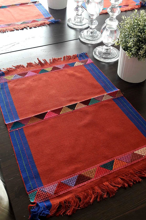Mexican Placemats, mexican table linens, mexican tablecloth, mexican terracota linens, terracotta placemats, placemats.
