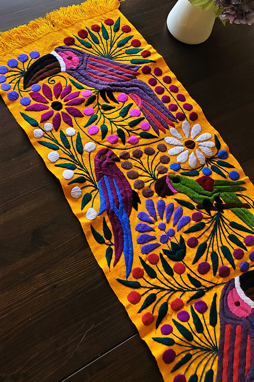 Table Runner Yellow Yolk color Hand-woven and embroidered, with Toucan