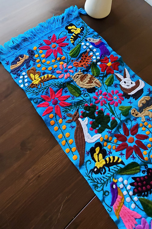 Table Runner, blue turqoise, hand embroidered with animals, birds and flowers