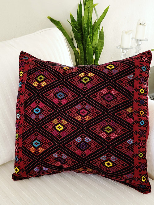 "Pillow cover brocade San Andres 16""×16"" red  and black handwove  brocad"