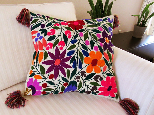 """Chiapas Pillow Cover 20""""x20"""" and flowers beige"""