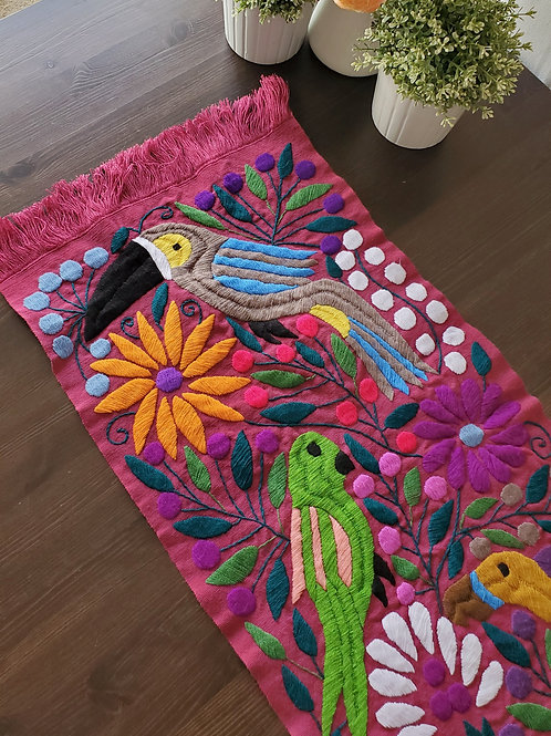 mexican textile, backstrap loom, hand made, hand woven, hand embroidery, embroidered, animals, birds, flowers, table runners,