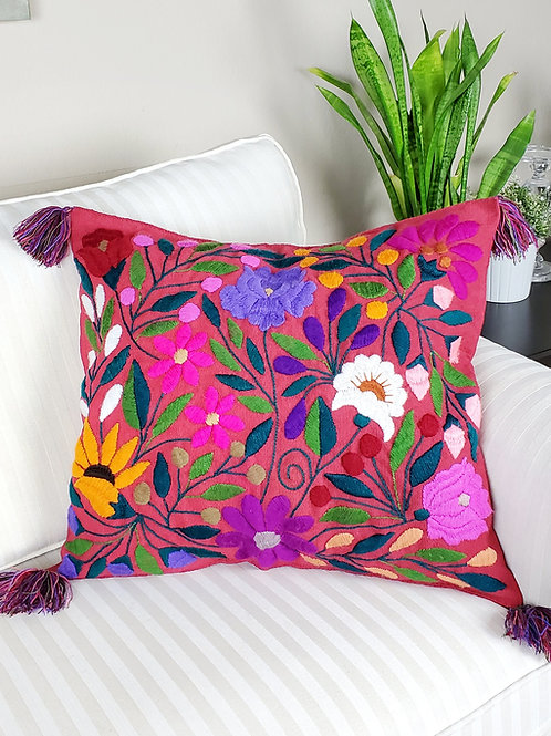 birds, flowers, pillows cover, pillow case, hand made, hand woven, chiapas, mexico textile,textil, embroidery, red, backstrap