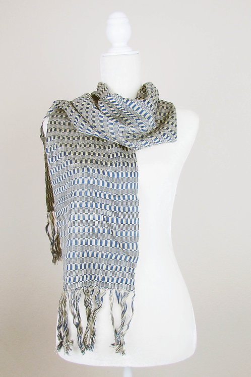 mexican textile, mexican apparel, scarf handwoven, scarf blue tone, maya textile, mexican garment,