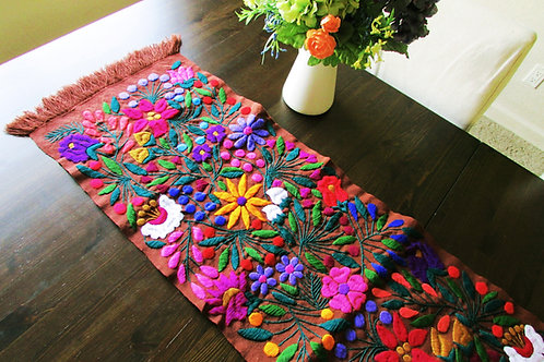 table runner brown, mexican crewel embroidered, mexican hand made, mexican tapestry, colorful flowers, tapestry, maya textile