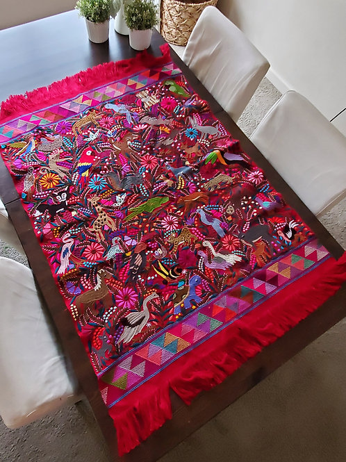 Red Tapestry, wove in backstrap loom, embroidered with Chiapas' jungle a