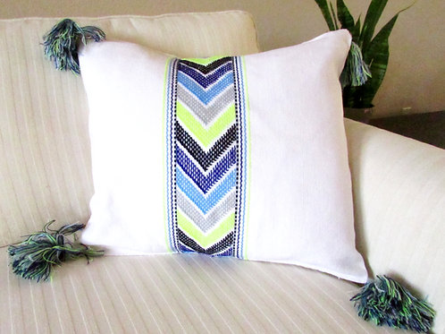 mexican fabric, pompoms, pillow mayan, mexican handmade, mexican pillow, mexican crewel embroidery.