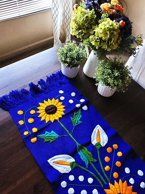 sunflower, maya textile , mexican table runner, table runner blue, mexican hand made, mexican embroidery, chiapas fabric, mex