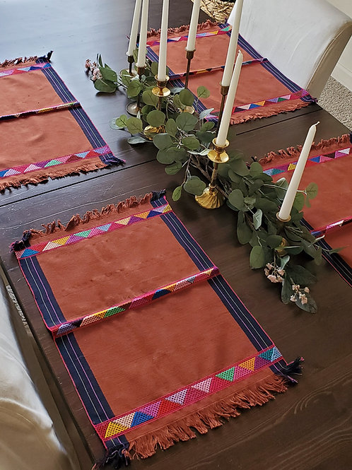 Placemats brown  color, 4 pieces by set, weave in backstrap