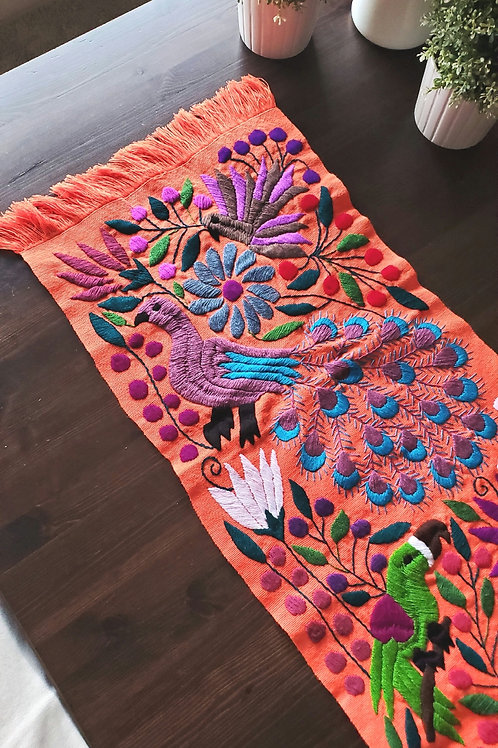 Table Runner orange hand-embroidered with peacocks and flowers, from Chiapas