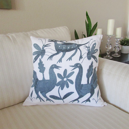 "Otomi square Pillow cover 18""x18""  Grey hand embroidered on white fabric."
