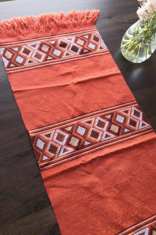 Table Runner woven in backstrap loom, Chedron ( brik) color with multicolor