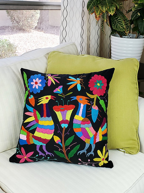 """Otomi square Pillow cover 18""""×18"""" multicolor hand embroidered on black fabric."""