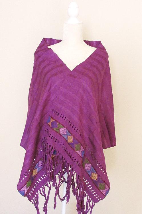 Rebozo or Shawl Purpe tone hand-woven in cotton yarn. Chiapas