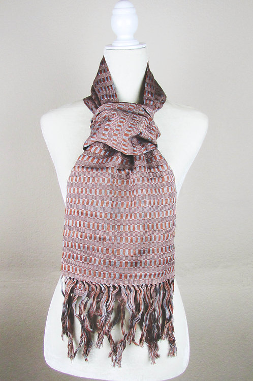 scarf brown and gray, mexican embroidery, mexican fabric, woven, chiapas.