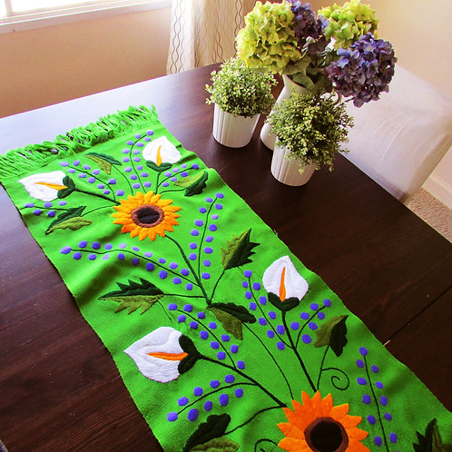 sun flower, green , table runner, mexican embroidery, mexican fabric, mexican hand made, tapestry, maya textile, mexican text