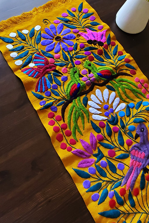 Table Runner  Ocher Hand-woven and embroidered with exotic birds