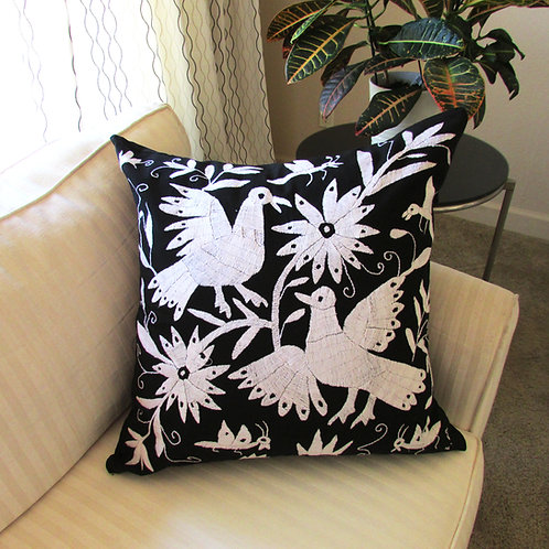 animals, flowers, birds, hand made, hand woven, embroidered, mexican crewel, textile, pillow cover, pillows, backstrap loom