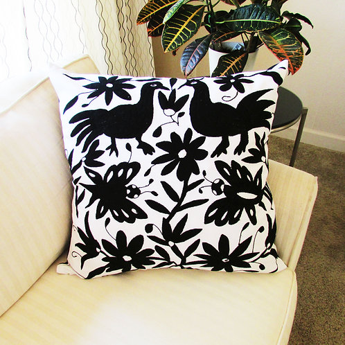 mexican crewel embroidered, mexican pillow, pillow black, otomi pillow, mexican fabric, mexican hand embroidery, mexican text