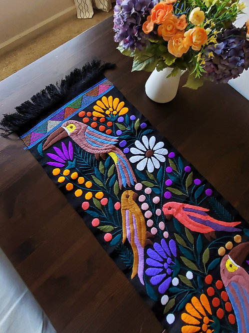 mexican textile, mexican embroidered, mexican tapestry, toucan tapestry, maya fabric, mexican decor, mexican upholstery