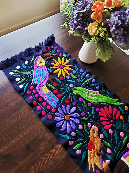mexican tapestry, tapestry, flowers, toucans, mexican fabric, mexican hand made, mexican embroidery, black table runner,