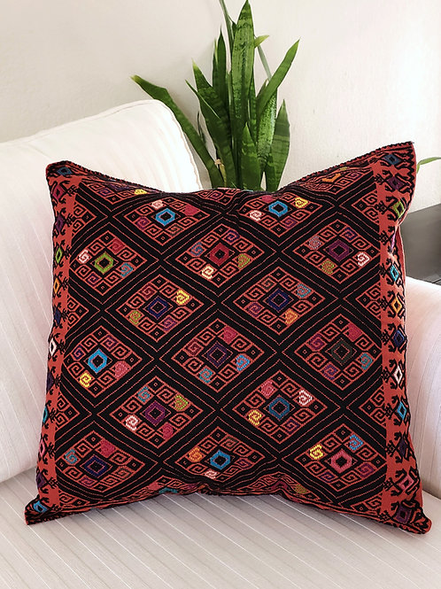pillow cover, embroidered, brocade, red, vintage, pillow case, hand woven, hand made, hand embroidery, backstrap loom, textil