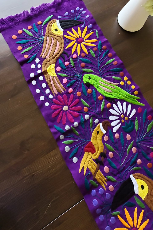 mexican tapestry, mexican tablerunner, toucans uphostery fabric, mexican hand embroidered, mexican textile, maya fabric,